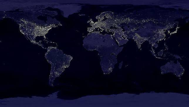 anthropocene Earth at night from space