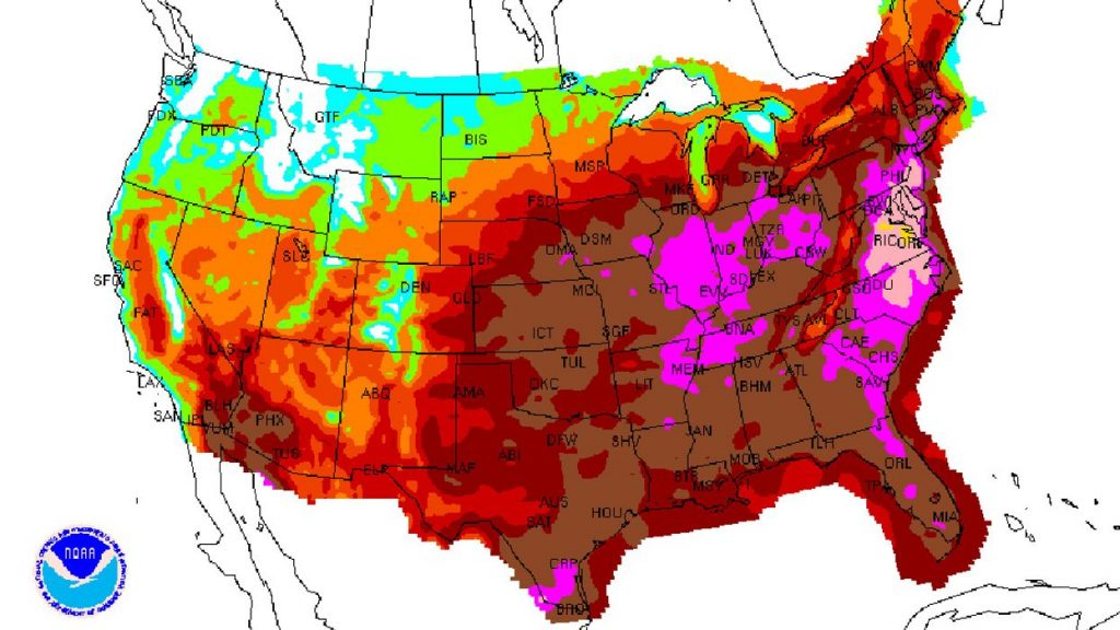 dangerous heat wave in United States of America