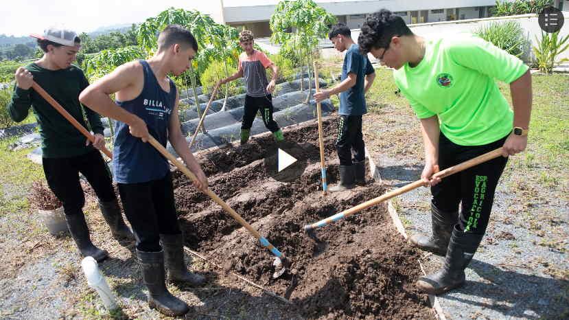 alumnos de la Escuela Superior Especializada Vocacional Agricola de Corozal