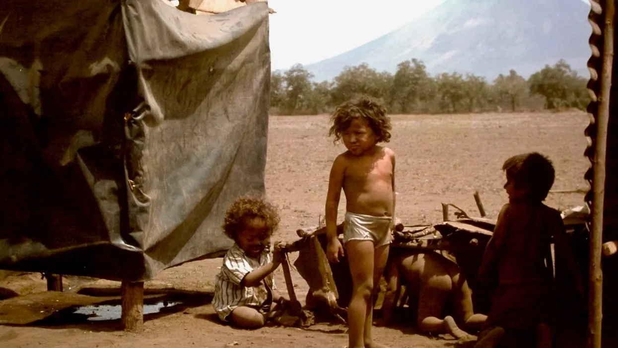 makeshift refugee camp